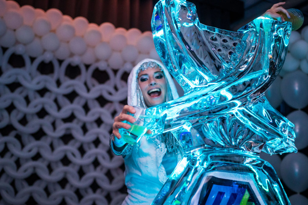 Ice Luge Stilt Walker- Enticing Entertainment