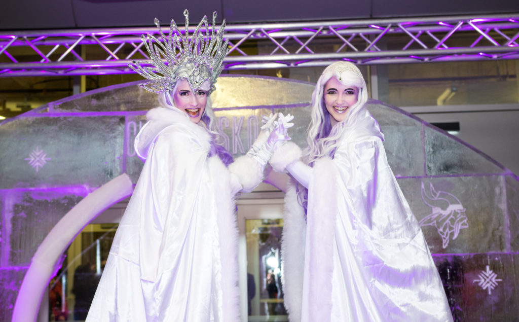 Ice Queen Stilt Walkers- Vikings Holiday Party- Enticing Entertainment